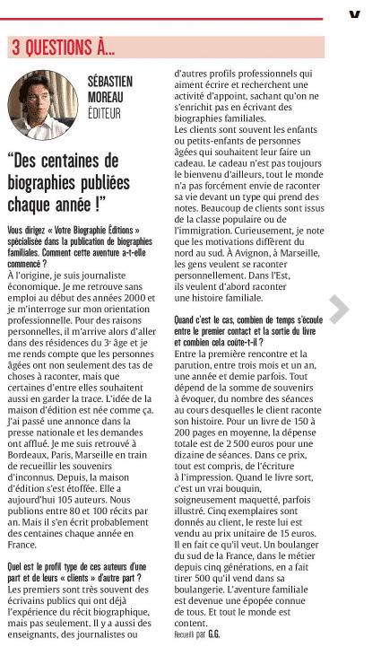 Première maison d'édition francophone, La première maison d'édition francophone des biographies familiales